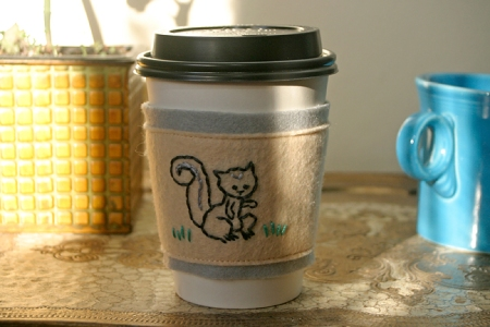 Squirrel Coffee Cozy
