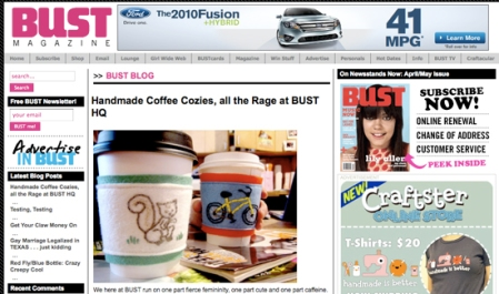 Cozies on Bust's Front Page!