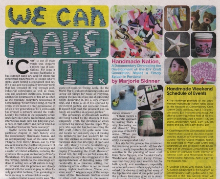 Handmade Nation Feature in the Portland Mercury April02