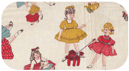 Vintage kids fabric flapper girl for Retro kids fabric
