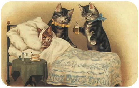 Victorian Cats Postcard Get Well Soon
