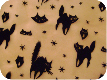 Retro Halloween Flocked Kitty Fabric