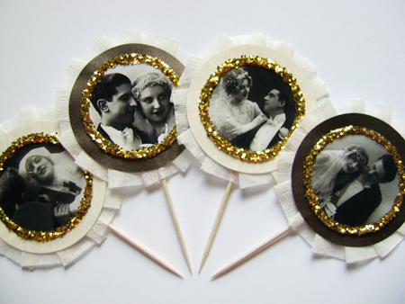 Vintage Wedding Cupcake Toppers