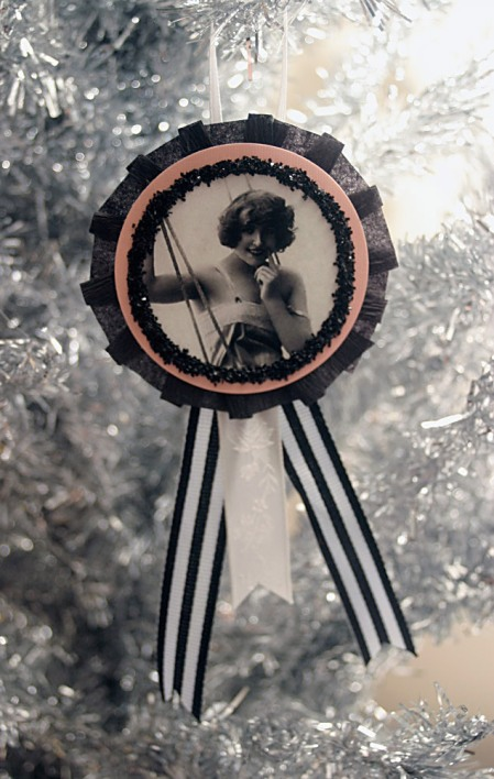 Pink Black & White Vintage Inspired Flapper Ornament