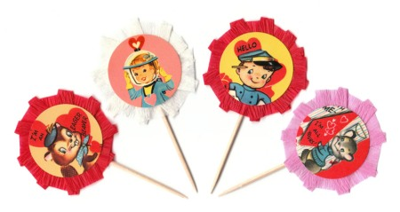 Vintage Inspired Valentine's Day Cupcake Picks