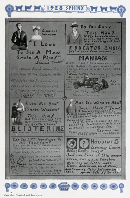 1928 Yearbook Faux Ads