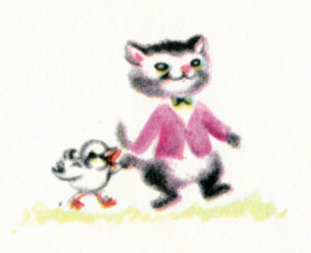 Vintage Cat & Duck Illustration