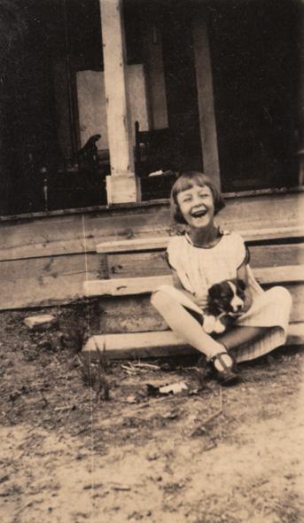 Vintage Photo: Girl & Puppy