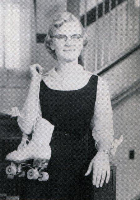 Vintage Girl with Rollerskates